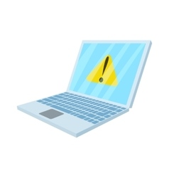 Warning system on laptop icon cartoon style vector image
