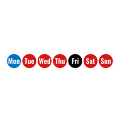 Week days round icons vector