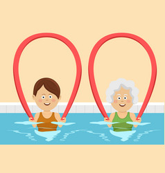 women using pool noodles in swimming pool vector image