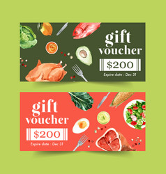 World food day voucher design with fish chicken vector