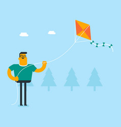 young caucasian white person flying a kite vector image