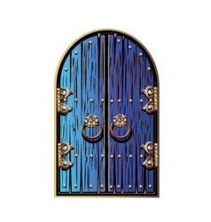 Door with a golden ornament vector image