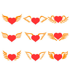 red heart wings icons set vector image