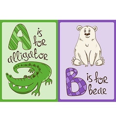 Children Alphabet with Funny Animals Alligator and vector image vector image