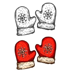Christmas mittens isolated sketch vector image vector image