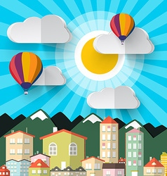 Flat Design Paper Cut City Abstract Mountains City vector image
