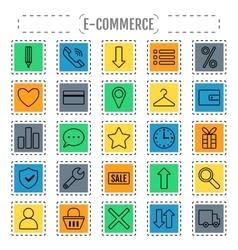 Icon set e-Commerce flat design shopping symbols vector image