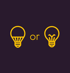 led light bulb and usual linear icons vector image vector image