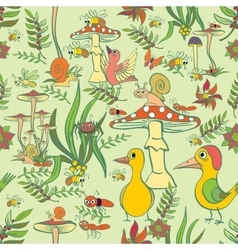 Seamless pattern Plants insects and fungi vector image