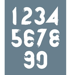 White handwritten numbers doodle brushed figures vector image vector image