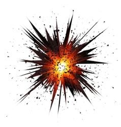 Black isolated star explosion with particles vector image