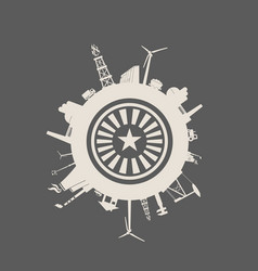 circle with industry relative silhouettes vector image
