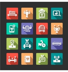 flat fitness and health icons set vector image
