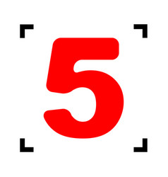number 5 sign design template element red vector image