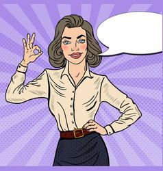 pop art successful businesswoman gesturing ok vector image