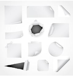 Set of white paper design elements vector