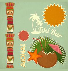 Vintage Hawaiian Tiki postcard vector image vector image