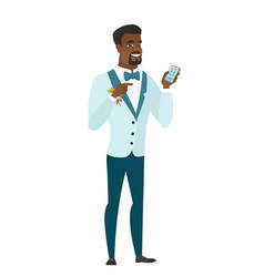african-american groom holding a mobile phone vector image