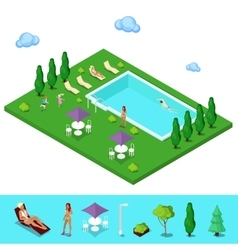 Isometric Swimming Pool Summer People vector image vector image