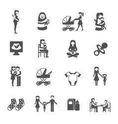 Motherhood Icons Set vector image
