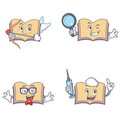 Set of open book character with cupid detective vector