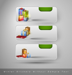 Winter stickers with gifts design elements without vector image vector image