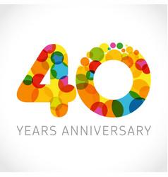 40 years anniversary circle colorful logo vector