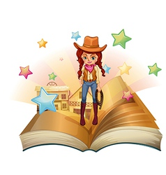 A book with a pretty cowgirl vector image