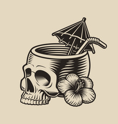 A skull with a cocktail straw vector