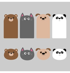 Animal head set Cartoon kawaii baby bear cat dog vector image