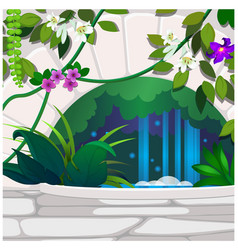 Artificial garden of tropical flowers and stone vector