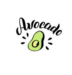 Avocado typography lettering logo trendy menu vector