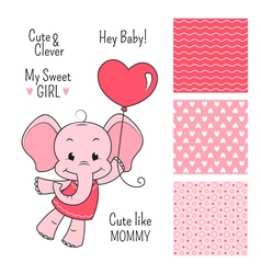 Baby elephant pink design with seamless patterns vector image