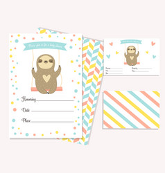 Baby shower invitation card with cute sloth vector