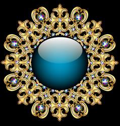 Background round frame made precious stones vector