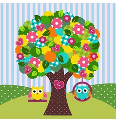 Beautiful tree with owls on swings vector