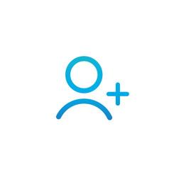 blue linear outline add person icon add user icon vector image
