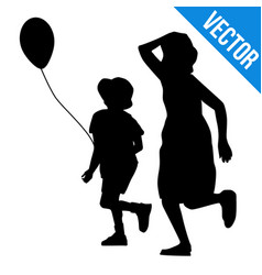 boy and girl silhouette running vector image