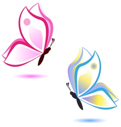 butterfly beauty concept pink and blue vector image