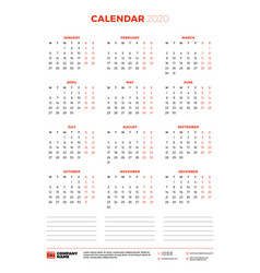 Calendar for 2020 year week starts on monday vector