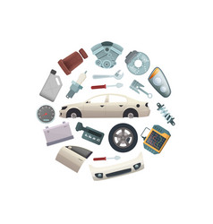 Car parts in circle shape vector