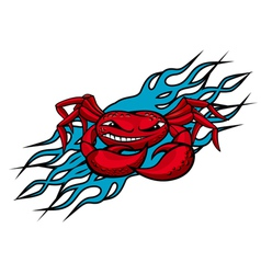 Cardinal crab with claws on blue flames for tattoo vector