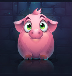 Cartoon big pig on a brick wall background vector