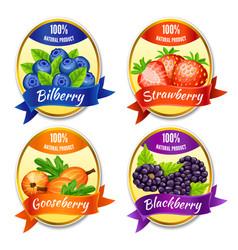 Cartoon colorful berries labels set vector