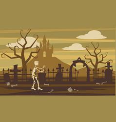 cartoon style skeleton background cemetery vector image