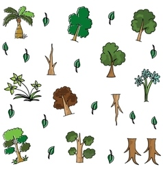 Cartoon tree in doodles vector