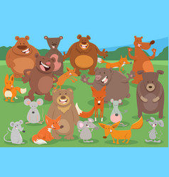 Cartoon wild animal characters group vector