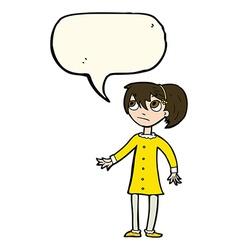 Cartoon worried girl with speech bubble vector