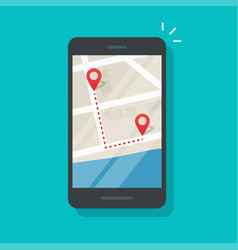 Cellphone with city map pin pointers and track vector