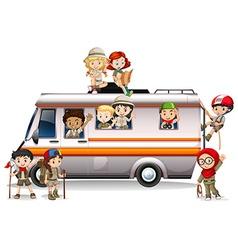 Children riding on van vector image